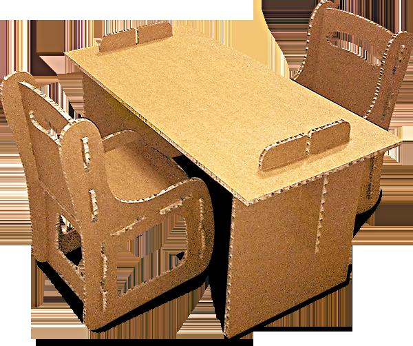 Sedie In Cartone.Tavolino Con Sedie